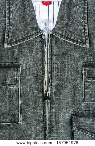 blue jacket jeans with zipper in close up view