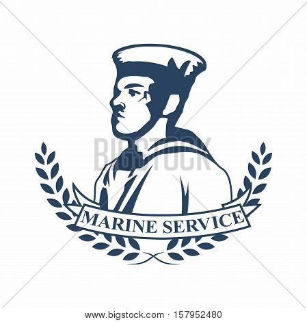 Vector retro logo badges of navy marine military service, with silhouette of marine officer in ceremonial uniform