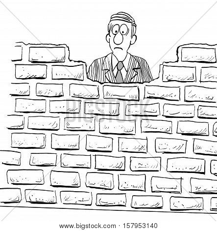 Black and white illustration of frowning businessman behind a large wall.