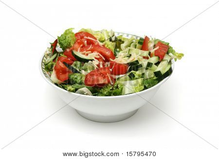 Bowl of fresh salad isolated on white background
