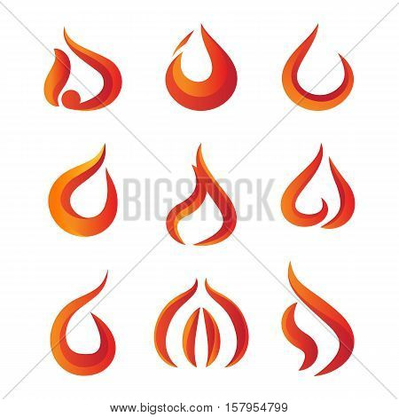Set of gradient fire logo isolated on white background. Stock vector illustration of elegant red orange flames for business identity