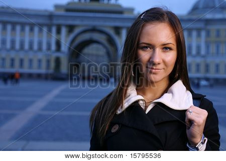 Beautiful girl at Palace Square, St. Petersburg, Russia.