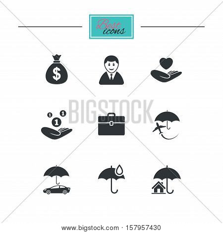 Insurance icons. Life, Real estate and House signs. Saving money, vehicle and umbrella symbols. Black flat icons. Classic design. Vector