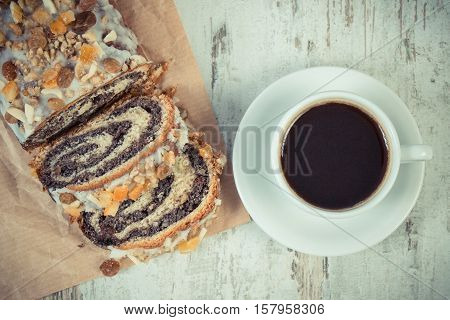 Vintage Photo, Portion Of Poppy Seeds Cake And Cup Of Coffee, Dessert For Christmas