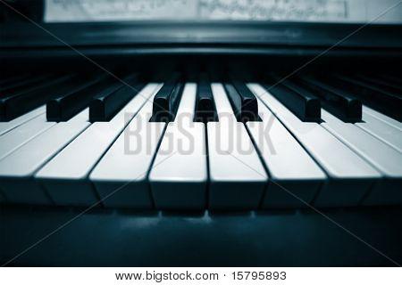 Piano keyboard closeup. Wide angle view.