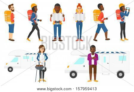 Traveler man with backpack and camera looking at map. Traveler man searching right direction on map. Traveler man during trip. Set of vector flat design illustrations isolated on white background.
