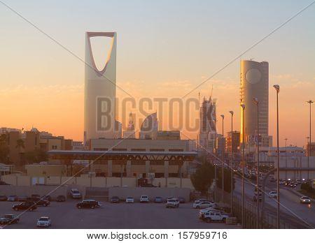 RIYADH - MARCH 01: View of Riyadh downtown on March 01, 2016 in Riyadh, Saudi Arabia.