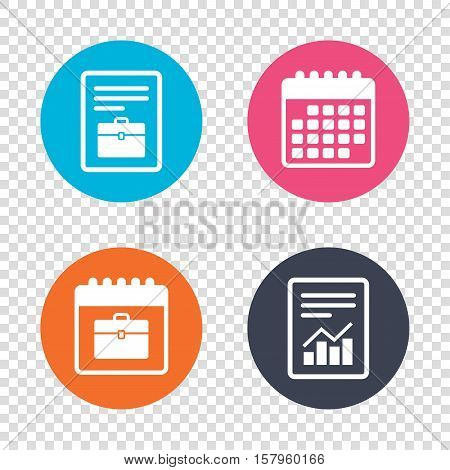 Report document, calendar icons. Case sign icon. Briefcase button. Transparent background. Vector