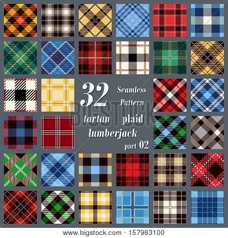 Set Tartan Seamless Pattern. Trendy Vector Illustration for Wallpapers. Seamless Tartan Tiles. Traditional Scottish Ornament. Tartan Plaid Inspired Background.