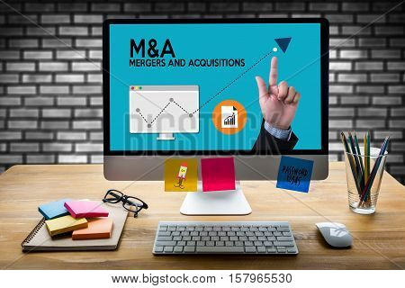M&a (mergers And Acquisitions) , Mergers & Acquisitions  , Businessman Working At Office M&a
