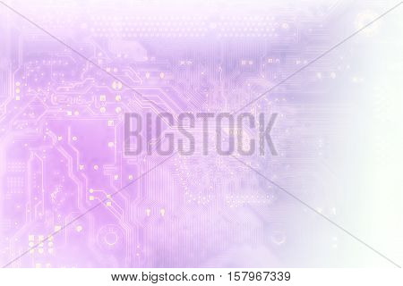 Technology Concept Background Silhouette Of A Computer Motherboard With Light Blue And Violet Colors