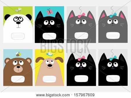 Notebook cover Composition book template. Baby cat panda dog bear kitty head. Bow butterfly dragonfly bee mosquito. Cute cartoon character set. Flat design White background Vector illustration.