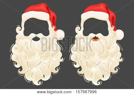 Santa Claus photo props hat, beard and mustache. Realistic Santa Claus photo props. Christmas photo props hat, beard and mustache. Santa Claus beard and mustache. Cute Christmas mask with hat