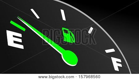 Green fuel gauge showing empty tank. Fuel indicator on black background.