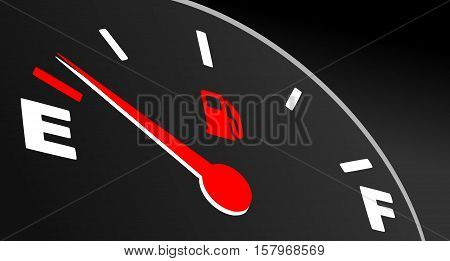 Red fuel gauge showing empty tank. Fuel indicator on black background.