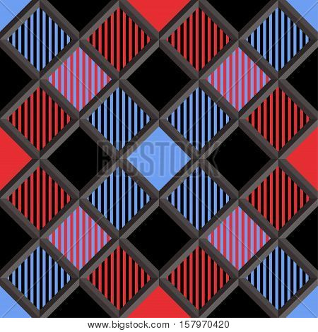 3D Lumberjack Tartan Seamless Pattern in Red Black Blue and Gray. Trendy volumetric illustration for wallpapers. Traditional Scottish ornament. Tartan plaid inspired background.