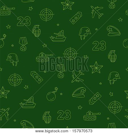 Seamless vector pattern of military icons on a dark green background. Beautiful background for your design. Wrapping paper. Defender of the Fatherland Day.