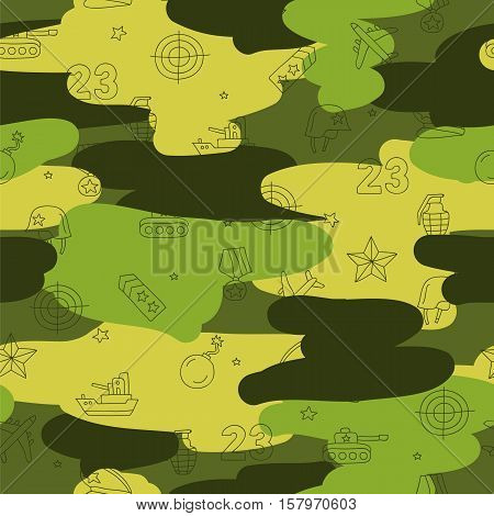 Seamless vector pattern of military icons. Beautiful background for your design. Wrapping paper. Defender of the Fatherland Day.