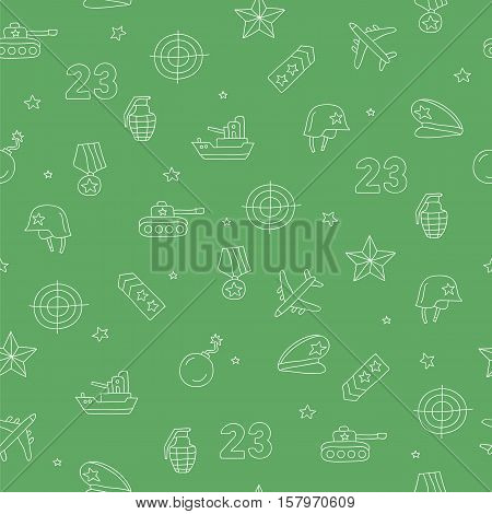 Seamless vector pattern of military icons on a green background. Beautiful background for your design. Wrapping paper. Defender of the Fatherland Day.