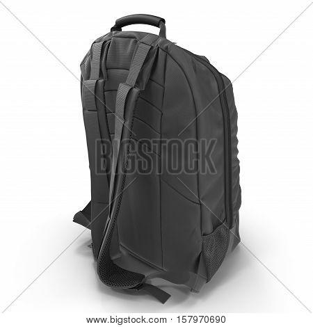 Black school backpack isolated on white background. Sport travel rucksack closeup. 3D illustration