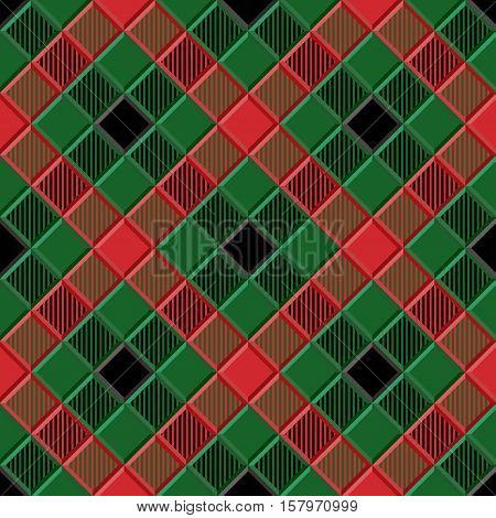 3D Lumberjack Tartan Seamless Pattern in Black Green Red and Gray. Trendy volumetric illustration for wallpapers. Traditional Scottish ornament. Tartan plaid inspired background.