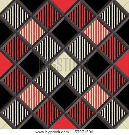 3D Lumberjack Tartan Seamless Pattern in Black Beige Red and Gray. Trendy volumetric illustration for wallpapers. Traditional Scottish ornament. Tartan plaid inspired background.