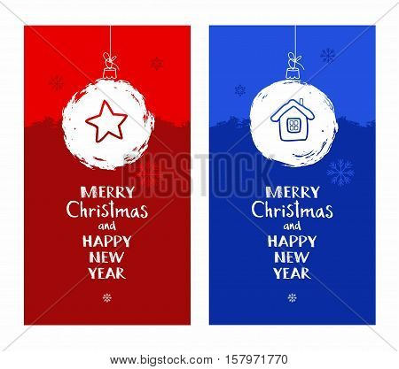 Merry Christmas, postcard, snow globe, star, house, blue, red, English font. Vector colored flat cards with white snow ball. The inscription in English, New year greetings. Imitation snow.