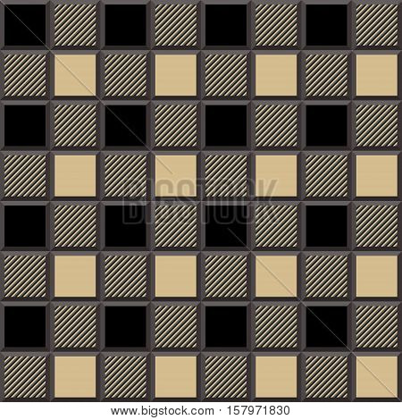 3D Lumberjack Tartan Seamless Pattern in Beige Black and Gray. Trendy volumetric illustration for wallpapers. Traditional Scottish ornament. Tartan plaid inspired background.