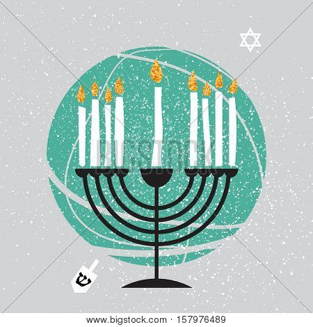 Cute Happy Hanukkah Greeting card. Jewish holiday with menorah - traditional Candelabra, white candles on grey background. Vector design illustration