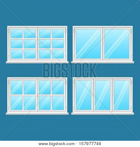 Aluminium windows set isolated on blue background. High quality windows from stainless steel. Modern frame types. Window exterior use. House and office windows. Window icon. Vector illustration