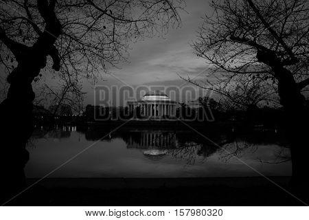 Jefferson Memorial at night - Washington DC USA