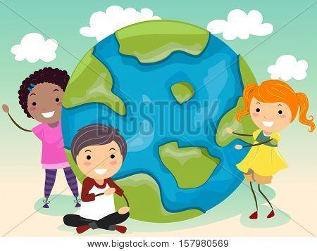 Stickman Illustration of a Group of Preschool Kids Gathered Around a Giant Globe
