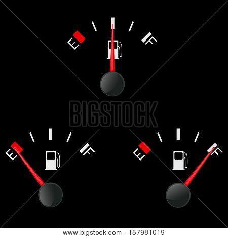 Fuel gauge. Vector illustration on black background