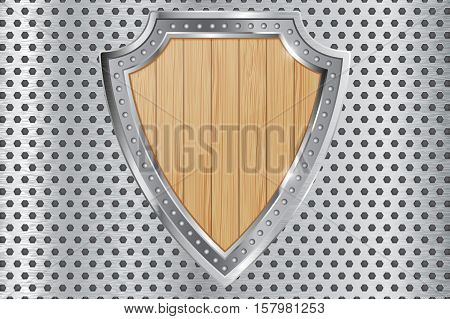 Wooden shield with chrome frame on perforated background. Vector illustration