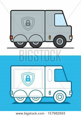 Vector illustration of white and gray armored security trucks on colored background