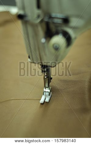 Close up image of the needle and thread on the sewing machine in a leather factory. No human face or body part is visible in the photo. The needle and thread on the sewing machine are in sharp focus.