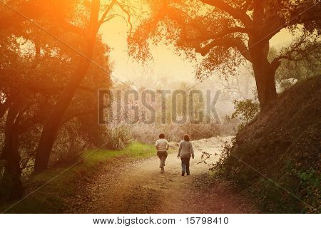 Two women walking outdoor in scenic park under big oak trees at sunset.