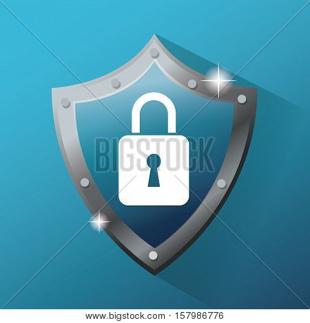 Shield and padlock icon. Cyber security system warning and protection theme. Vector illustraton