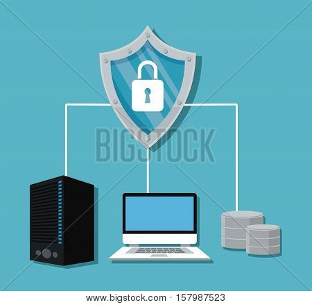Laptop padlock and shield icon. Cyber security system warning and protection theme. Vector illustraton