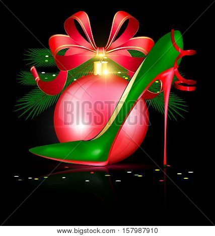 black background and the large red Christmas ball with abstract festive green womans shoe