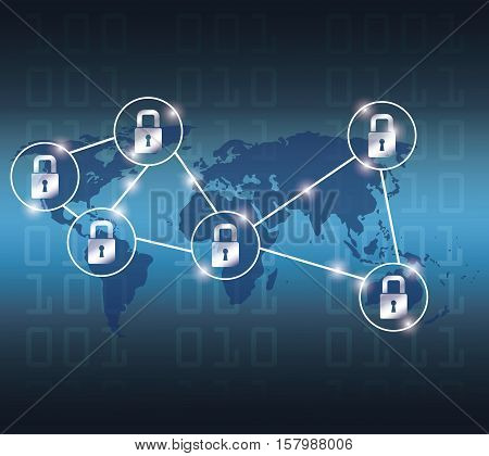 Padlocks and map icon. Cyber security system warning and protection theme. Vector illustraton