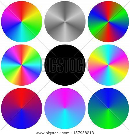 Isolated gradient rainbow circle color palette set