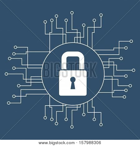 Padlock and circuit board icon. Cyber security system warning and protection theme. Vector illustraton