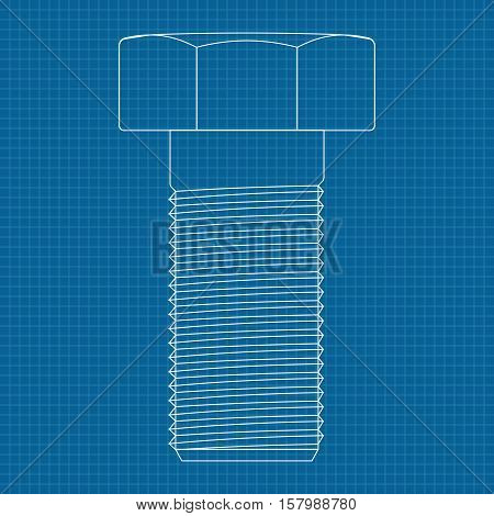 Screw bolt icon. On blueprint background. Vector illustration