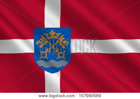 Flag of Nestved is a municipality in Denmark in Zealand Region. 3d illustration