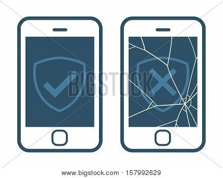 Vector icons of smart phone displaying right and wrong checkmarks with broken screen isolated on white representing warranty plan