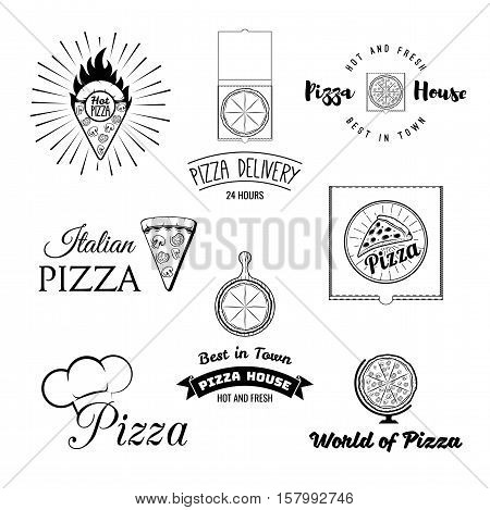 Pizza. Italian Food. Pizza. Food delivery. The Pizza Restaurant. Set of Labels and Badges Pizza. Vector Illustration Pizza. Pizza globe, pizza point map, pizza on the platter, chef hat,