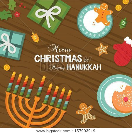 merry christmas and happy hanukkah celebration. vector illustration