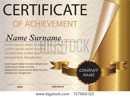 Certificate or diploma template. Award winner. Winning the competition. Vector illustration. A4 size.