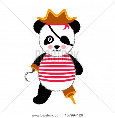 Cute panda pirate standing with hat and hook. Vector Illustration Isolated On White Background